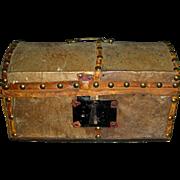 Small Hide Covered Dometop Box w/ Wallpaper Liner