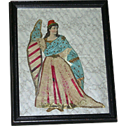 Patriotic Silk, Lace & Paper Decoupage of Lady Liberty w/ American Flag, c. 1876