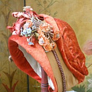 ~~~ Wonderful Antique French Silk Velvet Doll Bonnet ~~~