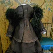 ~~~Maroon  Silk Poupee Gown .... Circa 1870 ~~