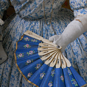 ~~~ Marvelous Rich Blue Fan for Poupee ~~~