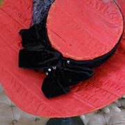 ~~~ Very Nice Red Silk Bonnet / 19th. century ~~~