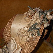 ~~~ Fancy All Original Straw Cabriolet Bebe Bonnet ~~~