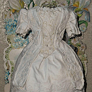 ~~~Pretty White Enfantine Pique Cotton Gown for Early Poupee like Huret , Rohmer ~~~