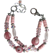 Two Strand Bracelet in Pink with Millefiori Beads – Pink Riverstone – Celestial Crystals – Rose Quartz