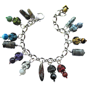 Gargoyle Charm Bracelet with Gemstones and Colorful Gargoyles and Matching Earrings