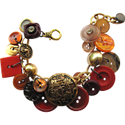 Charm Bracelet of Vintage Buttons in Russet Shades – Burnt Sienna – Bronze – Caramel ...