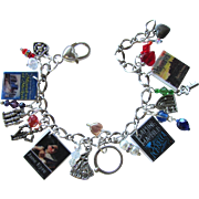 SALE Gothic Romance Novel Charm Bracelet with Tiny Books – Hearts – Swarovski Crystals –