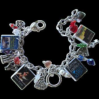 SALE Gothic Romance Novel Charm Bracelet with Tiny Books – Hearts – Swarovski Crystals – Charms