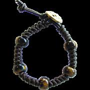 Tiger Eye Bracelet on Brown Leather in Snake Knot Pattern – Men's Size Medium