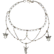 SALE White Angel Choker with Swirls of Swarovski Xilion Crystals and Sparkling Beads with Earr