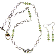 Sterling Silver Claddagh Pendant on Chain with Peridot and Swarovski Crystals and Matching ...