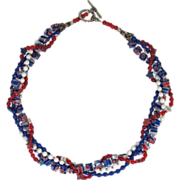 SOLD Red White and Blue Multiple Strand Twisted Choker with Magnesite Stars and Matching Earri