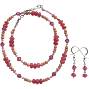 Pink Sapphire Necklace with Swarovski Crystals and Pink Opal with Matching Earrings