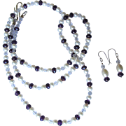 Amethyst and Pearl Necklace with Rock Quartz Crystal in Opera Length with Matching Earrings