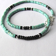 SOLD Mens Choker of Magnesite in Light Teal with Black Accents