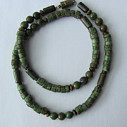 SOLD Mens Choker in Camouflage Colors of Magnesite and Betel Nut Beads