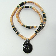 SOLD Mens Choker with Green Jade Spiral Focal and Melon Shell Heishis