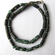 SOLD Mens Green Choker of Carved Bone with Agate and Magnesite Accents