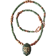 SOLD Green Man Pendant on Necklace of Tree Agate and Copper Beads