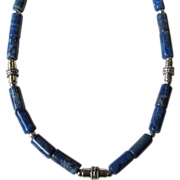 SOLD Mens Choker of Denim Lapis Lazuli Tube Beads with Sterling Silver Accents