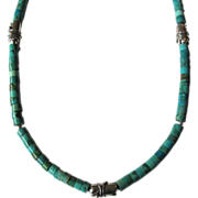 SOLD Mens Choker of Nacozari Turquoise Heishis with Sterling Silver Accents