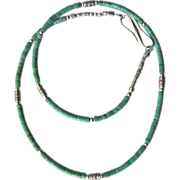 Men's Choker of Number 8 Mine Turquoise Heishis with Hill Tribes Sterling Silver Accents
