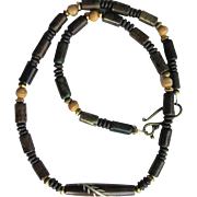 Men's Choker of Carved Bone and Magnesite in Deep Brown and Green Hues
