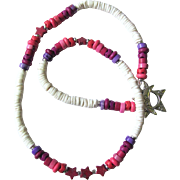 White Choker with Shades of Pinks and Purples and Star Accents