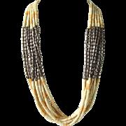 Vintage Santo Domingo Ten Strand Angel Skin Coral Light Salmon and White Heishi Necklace