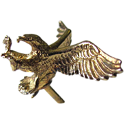 Vintage Eagle Tie Tack of Gold Vermeil by Anson with Eagle in Flight