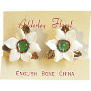 Anemone Blossom Earrings of English Bone China by Adderley Floral – Mint on Original Card