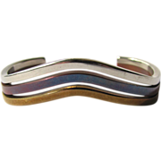 Vintage Modernist Tricolor Cuff Bracelet in Copper - Bronze - and Silver Colors