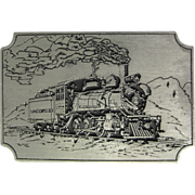 Vintage Florence & Cripple Creek Railroad Belt Buckle with Etched Locomotive in Brushed Pewter