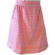 Vintage Pink Gingham Apron with White and Gold Ric Rac Trim