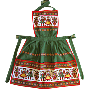 Red and Green Vintage Bib Apron with Pennsylvania Dutch Motif and Three Pockets
