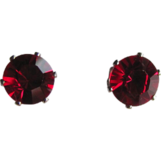 SALE Vintage Red Cubic Zirconia Prong Set Post Earrings