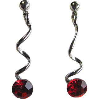 SALE Vintage Earrings with Red Cubic Zirconia Crystals Suspended with a Twist