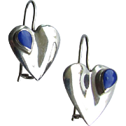 SALE Vintage Heart Shaped Sterling Silver Earrings Embellished with Small Lapis Lazuli Stones