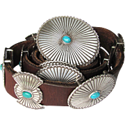Vintage Turquoise Concho Leather Belt with Oval and Butterfly Conchos of Nickel-Silver