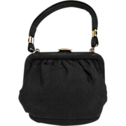 Vintage Handbag in Black Corde with Heart Clasp in Small Size