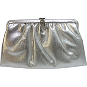 Vintage Convertible Clutch of Silver Vinyl with Feather-Shaped Clasp with Rhinestones
