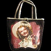 SOLD Vintage Dale Evans Handbag in Deep Brown with Portrait of Dale Evans - Red Tag Sale Item