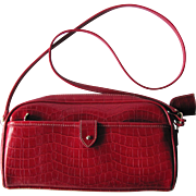 SALE Vintage Red Faux Alligator Handbag with Cross-Body Strap by Liz Claiborne