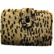 Vintage Animal Print Agenda Wallet with Faux Cheetah Fur - Day Planner - 1996 Calendar