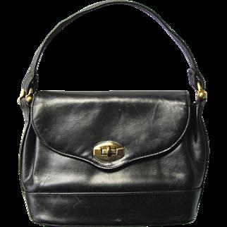 Vintage 1940's Black Leather Handbag with Secret Pocket by Rolfs