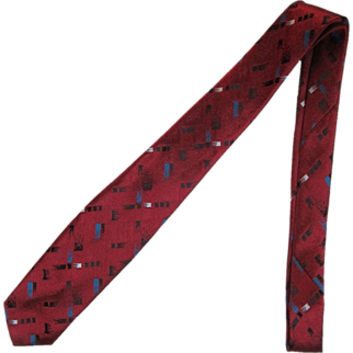 SALE Vintage Narrow Jacquard Necktie in Burgundy with Stylized Brush Stroke Design