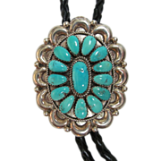 Vintage Navajo Turquoise Cluster Bolo Tie of Sterling Silver Signed by Artist Juliana Williams