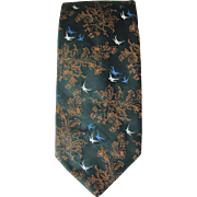 Vintage Wembley Tie in Deep Green with Stitched Floral and Bird Design