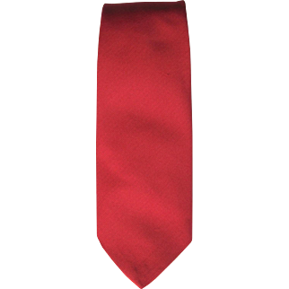 SALE Vintage Red Twill Tie in Lipstick Red Color